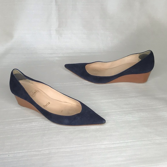 f6b1b768bc6 Christian Louboutin Shoes - Suede navy platform wedge red bottoms louboutin  39